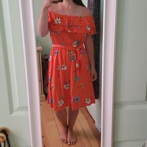 Off the Shoulder Summer Floral Dress- Large